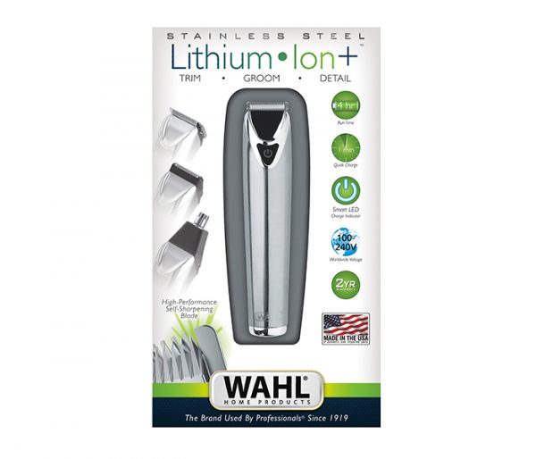 Wahl 9818-727 Stainless Stell Lithium Ion + Beard and Nose Trimmer for Men
